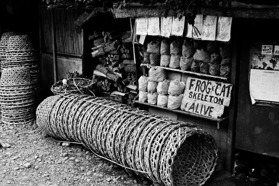 baskets lined in front of a shop selling skeletons