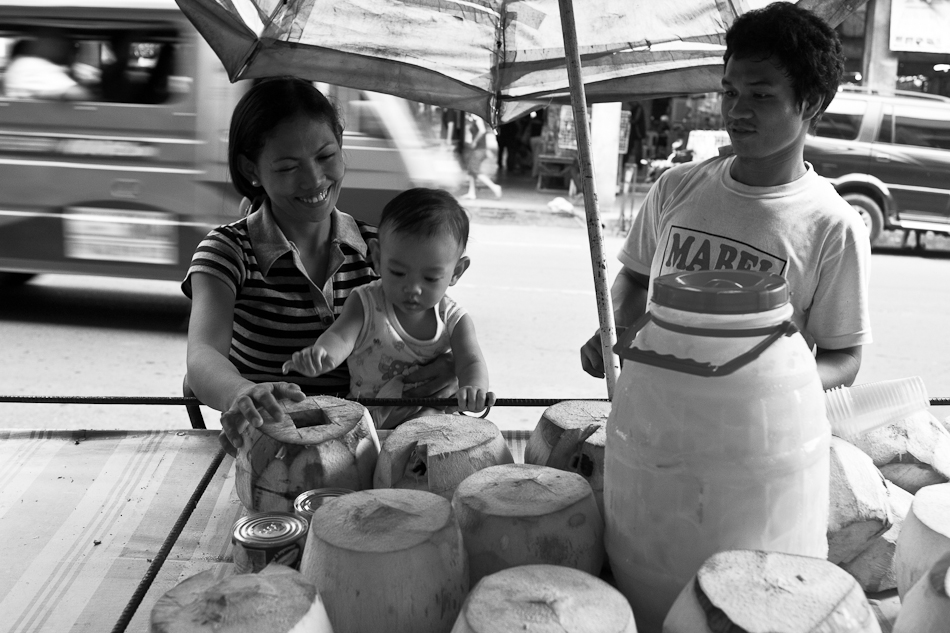 a family of three and their only source of income selling fresh coconut