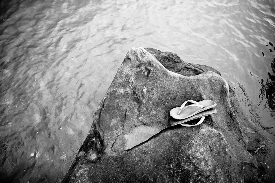 flip flops on the rocks