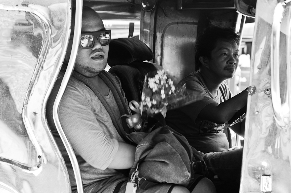 jeepney passenger with flowers on mother's day