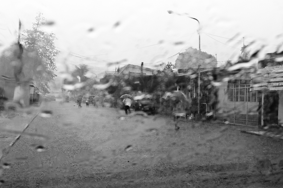 three women with umbrellas walking in the rain