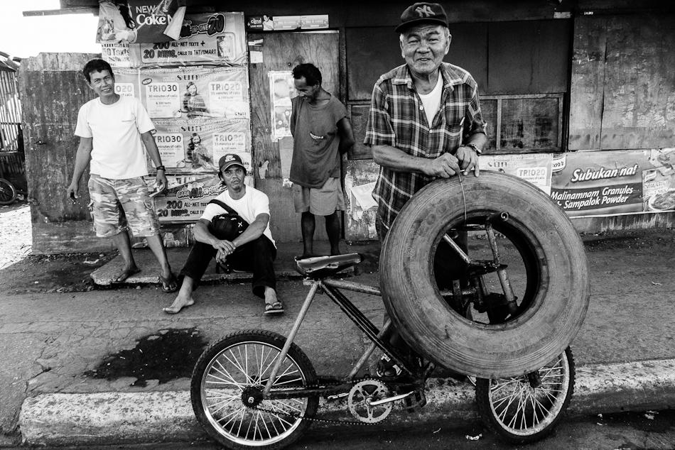 man, bike, tire
