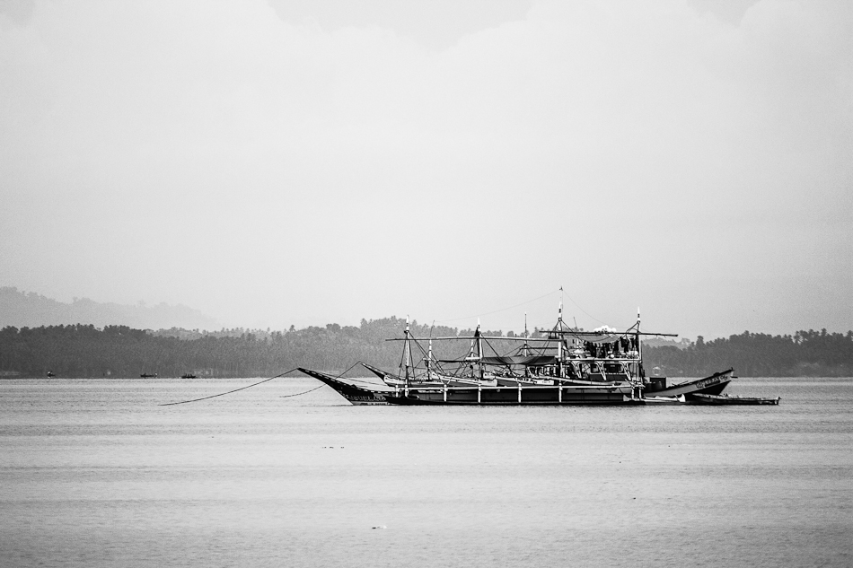 a fishing boat on the bay